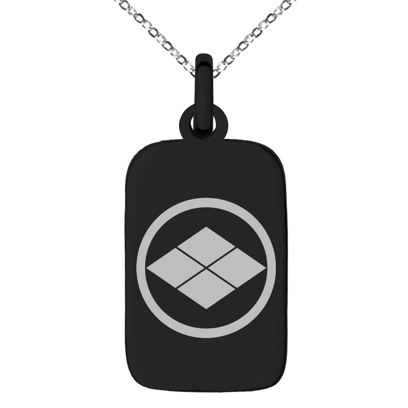 Stainless Steel Matsumae Samurai Crest Engraved Small Rectangle Dog Tag Charm Pendant Necklace - Tioneer