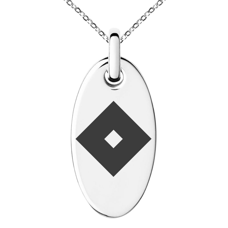 Stainless Steel Miyoshi Samurai Crest Engraved Small Oval Charm Pendant Necklace - Tioneer