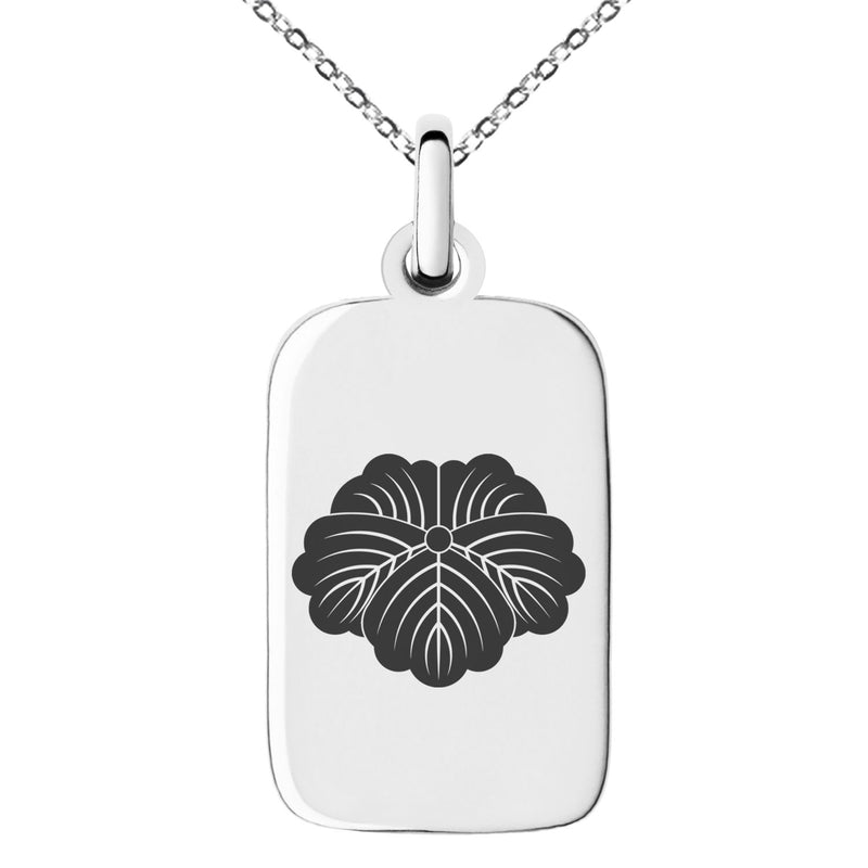 Stainless Steel Matsunaga Samurai Crest Engraved Small Rectangle Dog Tag Charm Pendant Necklace - Tioneer