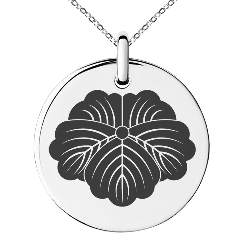 Stainless Steel Matsunaga Samurai Crest Engraved Small Medallion Circle Charm Pendant Necklace - Tioneer
