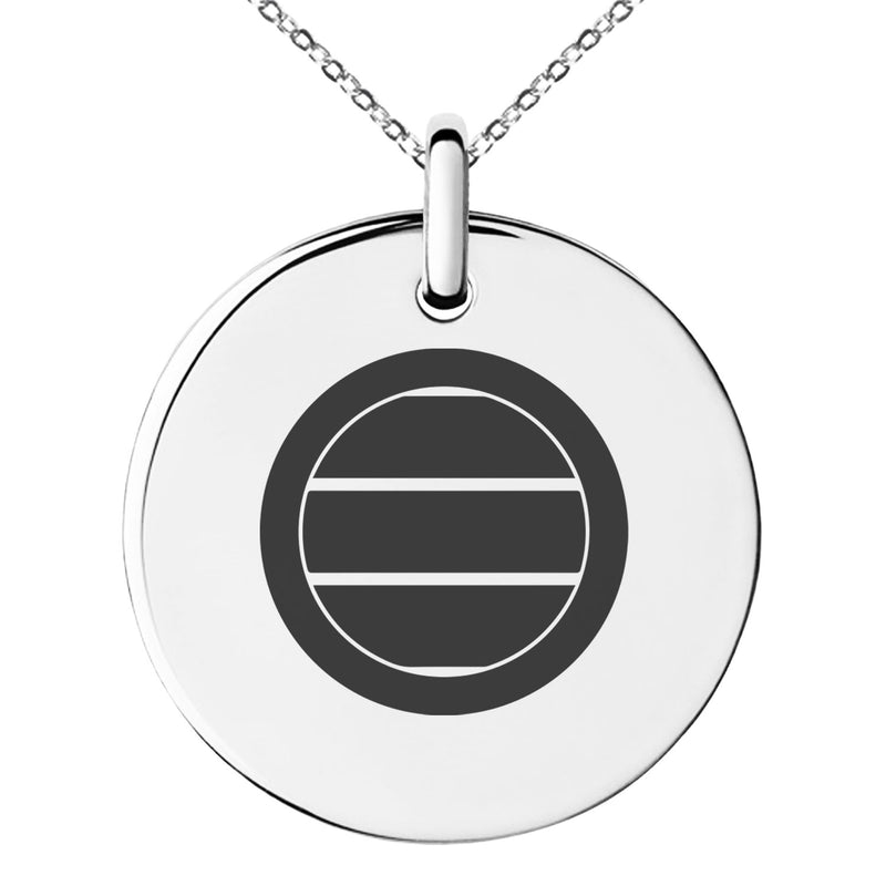 Stainless Steel Miura Samurai Crest Engraved Small Medallion Circle Charm Pendant Necklace - Tioneer