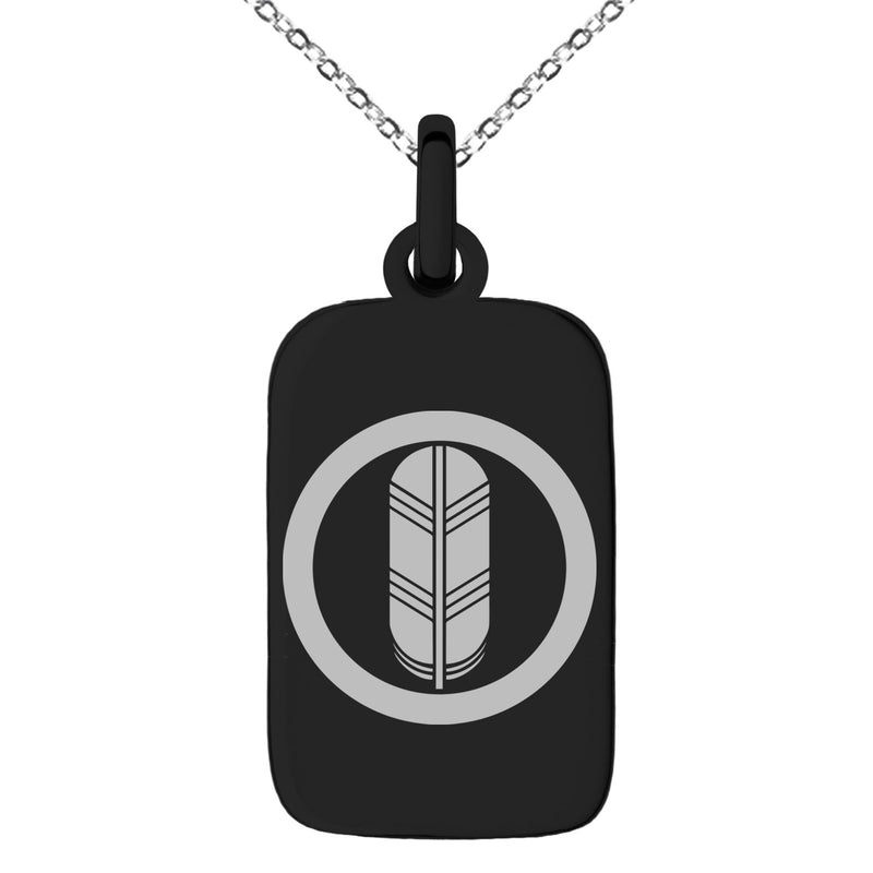 Stainless Steel Saigo Samurai Crest Engraved Small Rectangle Dog Tag Charm Pendant Necklace - Tioneer