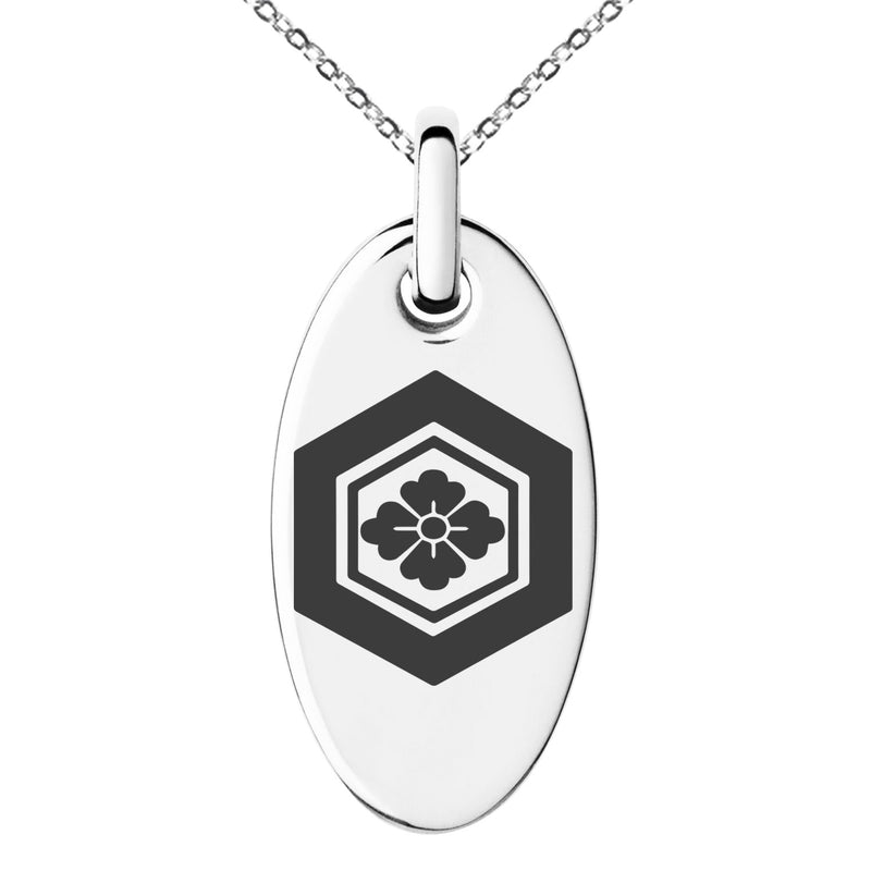 Stainless Steel Naoe Samurai Crest Engraved Small Oval Charm Pendant Necklace - Tioneer