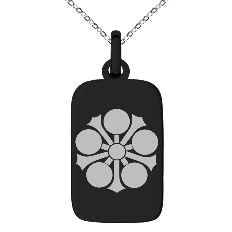 Stainless Steel Sagara Samurai Crest Engraved Small Rectangle Dog Tag Charm Pendant Necklace - Tioneer