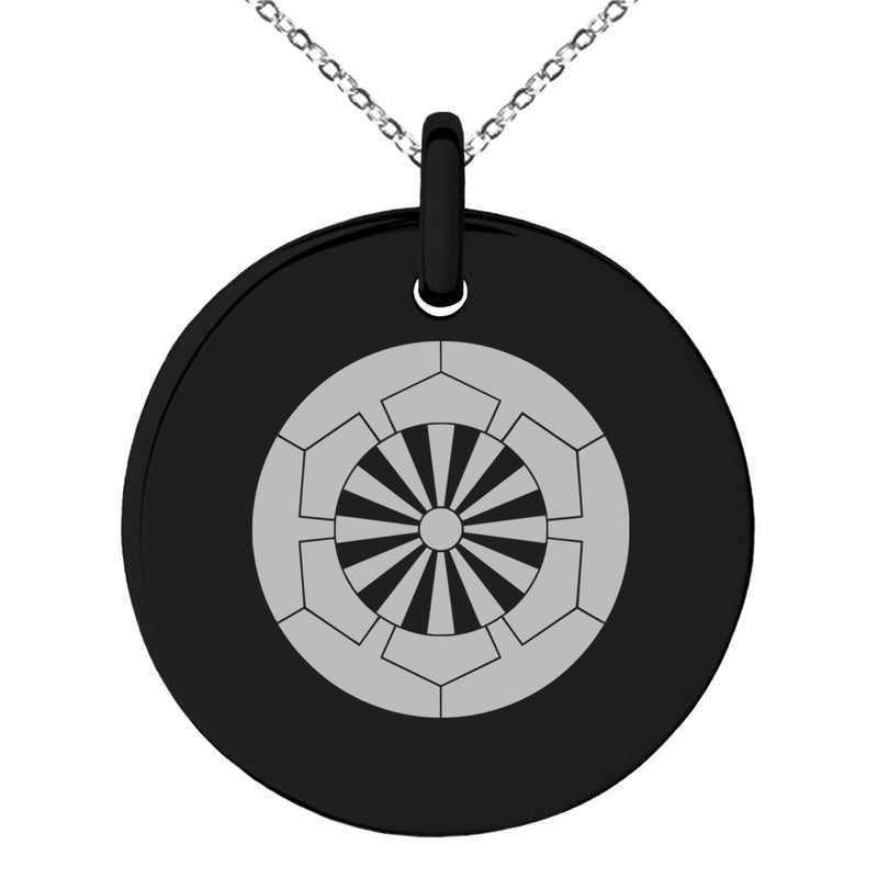Stainless Steel Sakakibara Samurai Crest Engraved Small Medallion Circle Charm Pendant Necklace - Tioneer