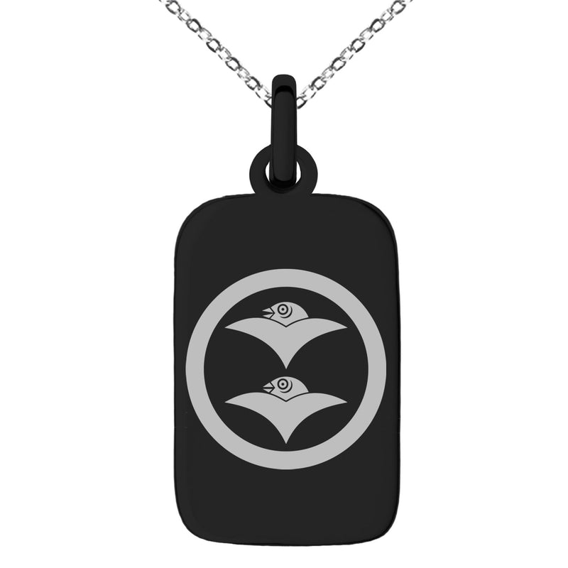 Stainless Steel Shibata Samurai Crest Engraved Small Rectangle Dog Tag Charm Pendant Necklace - Tioneer