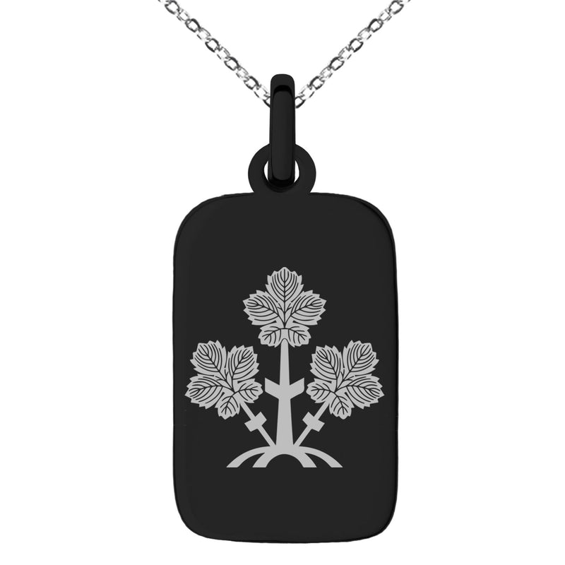 Stainless Steel Suwa Samurai Crest Engraved Small Rectangle Dog Tag Charm Pendant Necklace - Tioneer