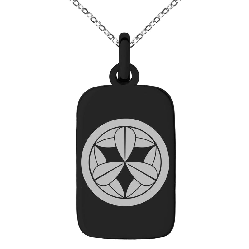 Stainless Steel Takenaka Samurai Crest Engraved Small Rectangle Dog Tag Charm Pendant Necklace - Tioneer