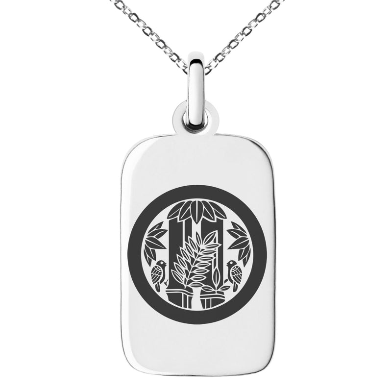 Stainless Steel Torii Samurai Crest Engraved Small Rectangle Dog Tag Charm Pendant Necklace - Tioneer