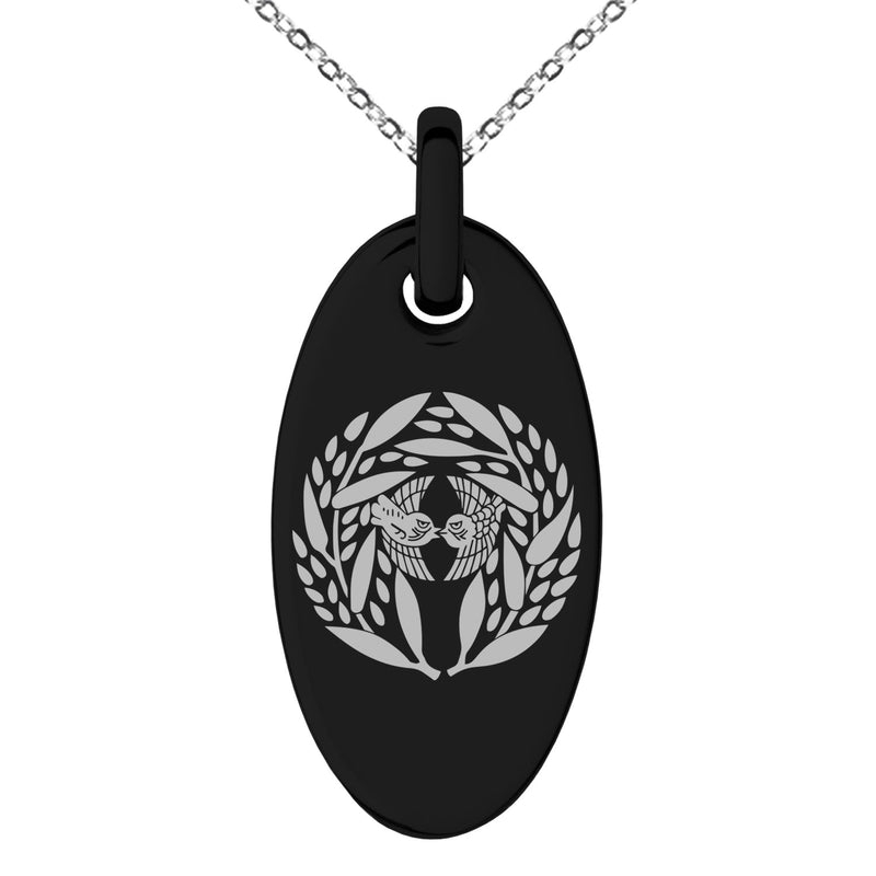 Stainless Steel Yagyu Samurai Crest Engraved Small Oval Charm Pendant Necklace - Tioneer