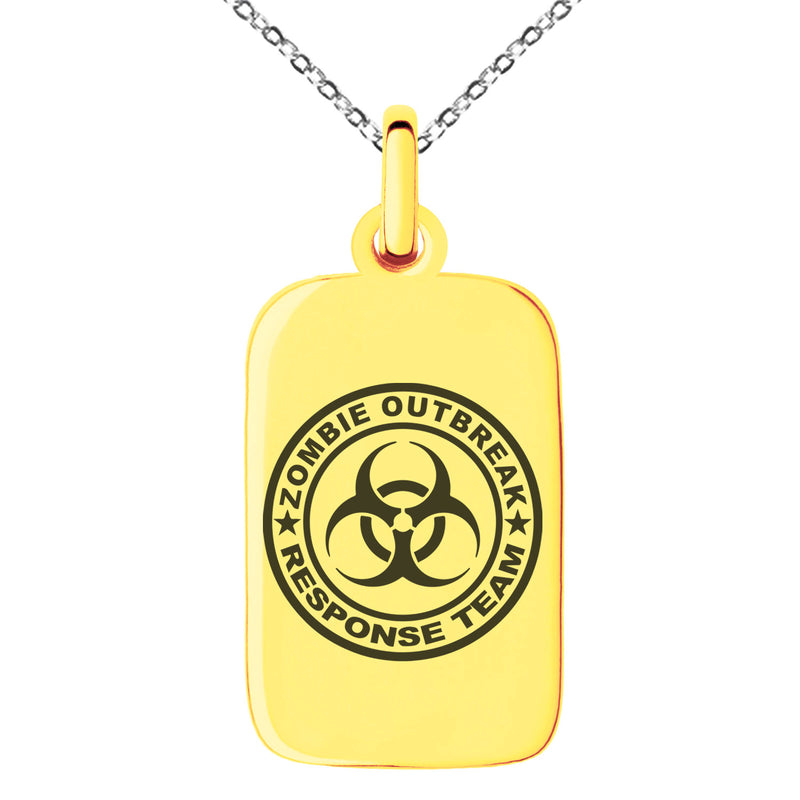 Stainless Steel Zombie Outbreak Response Team Engraved Small Rectangle Dog Tag Charm Pendant Necklace - Tioneer