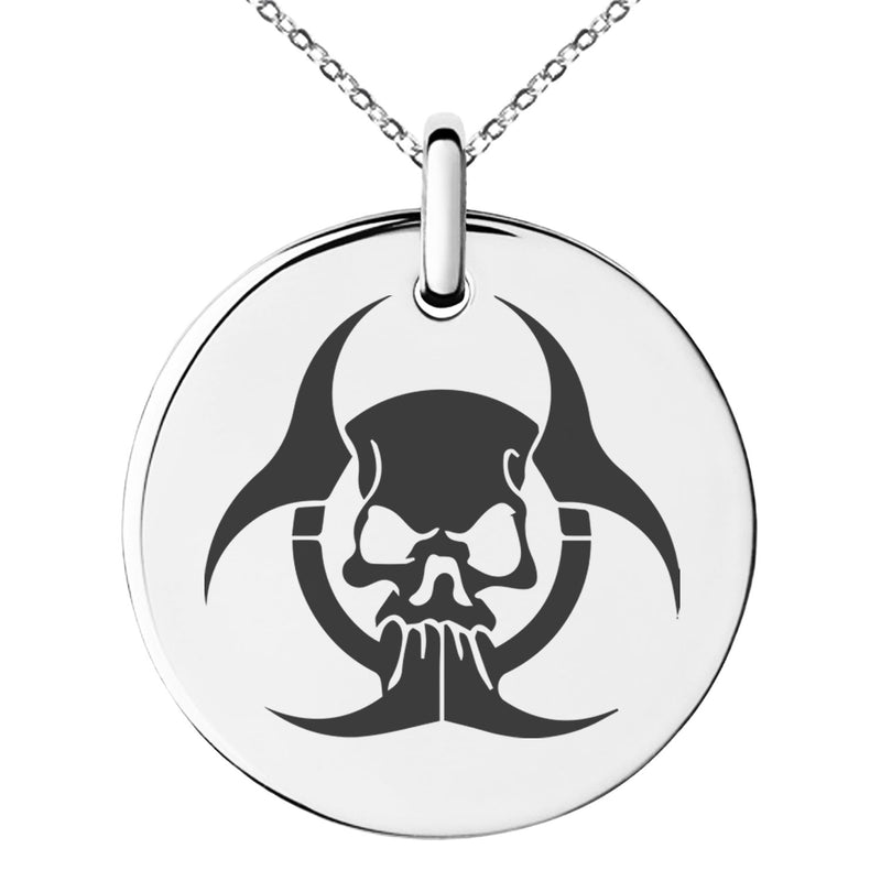 Stainless Steel Zombie Skull Biohazard Engraved Small Medallion Circle Charm Pendant Necklace - Tioneer