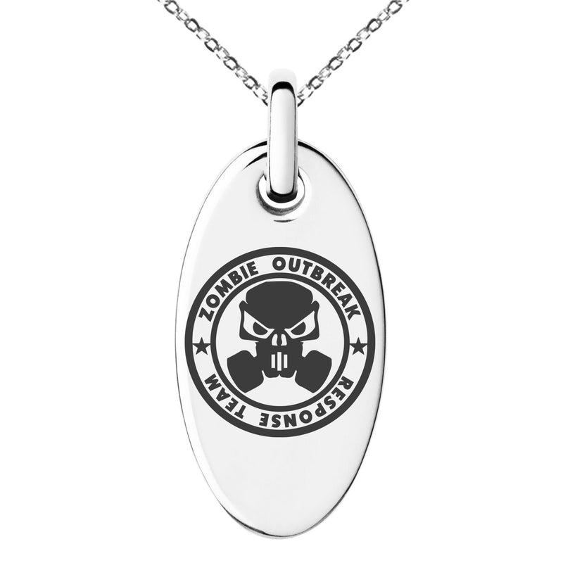 Stainless Steel Bio Zombie Outbreak Response Team Engraved Small Oval Charm Pendant Necklace