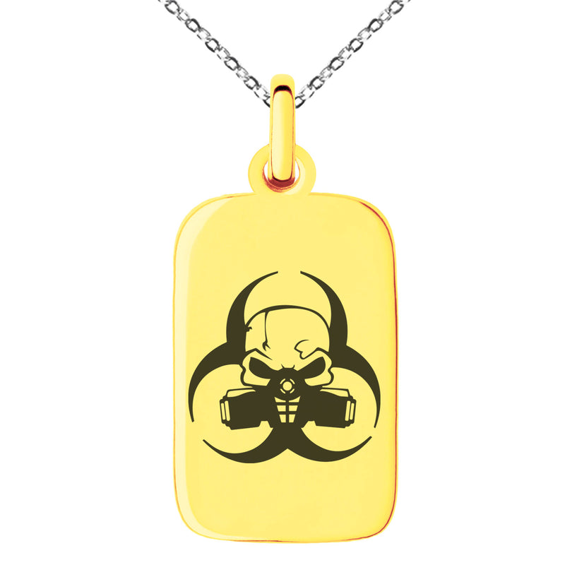 Stainless Steel Biohazard Skull Engraved Small Rectangle Dog Tag Charm Pendant Necklace