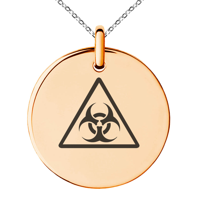 Stainless Steel Biohazard Triangle Engraved Small Medallion Circle Charm Pendant Necklace