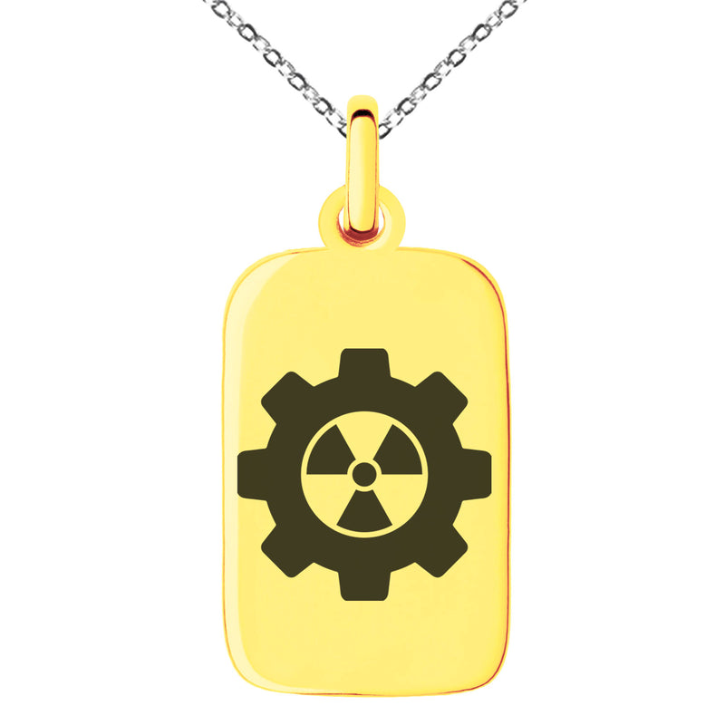 Stainless Steel Radioactive Gear Engraved Small Rectangle Dog Tag Charm Pendant Necklace - Tioneer
