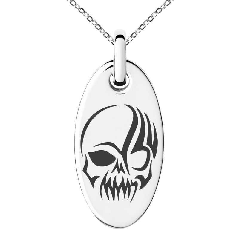Stainless Steel Death Zombie Skull Engraved Small Oval Charm Pendant Necklace