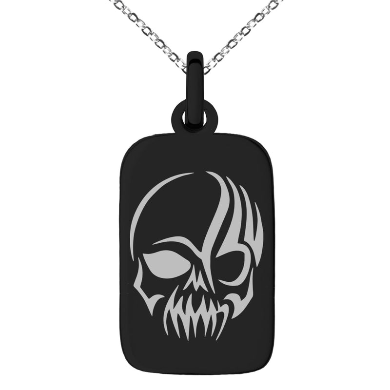 Stainless Steel Death Zombie Skull Engraved Small Rectangle Dog Tag Charm Pendant Necklace