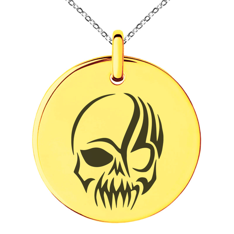 Stainless Steel Death Zombie Skull Engraved Small Medallion Circle Charm Pendant Necklace