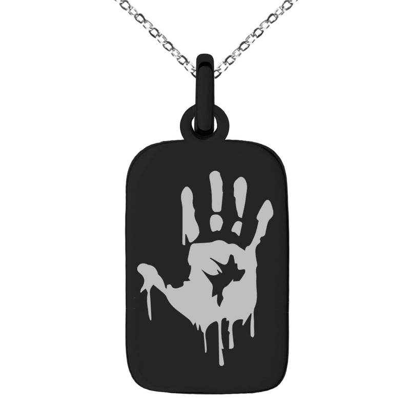 Stainless Steel Biohazard Zombie Hand Mark Engraved Small Rectangle Dog Tag Charm Pendant Necklace