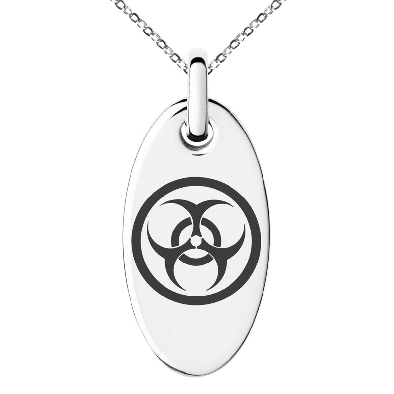 Stainless Steel Encircled Biohazard Engraved Small Oval Charm Pendant Necklace