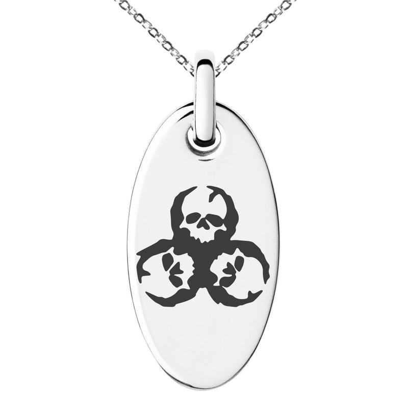 Stainless Steel Zombie Skull Biohazard Engraved Small Oval Charm Pendant Necklace - Tioneer