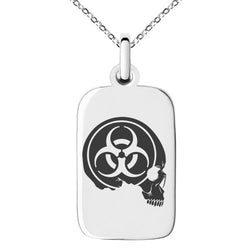Stainless Steel Biohazard Skull Zombie Engraved Small Rectangle Dog Tag Charm Pendant Necklace