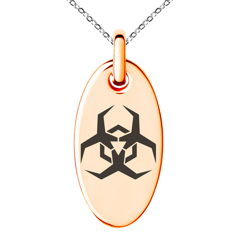 Stainless Steel Biohazard Malware Engraved Small Oval Charm Pendant Necklace