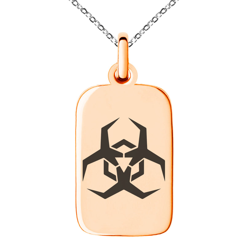 Stainless Steel Biohazard Malware Engraved Small Rectangle Dog Tag Charm Pendant Necklace