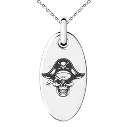 Stainless Steel Pirate Captain Skull Engraved Small Oval Charm Pendant Necklace - Tioneer