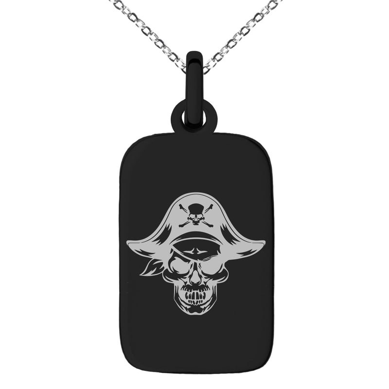 Stainless Steel Pirate Captain Skull Engraved Small Rectangle Dog Tag Charm Pendant Necklace - Tioneer