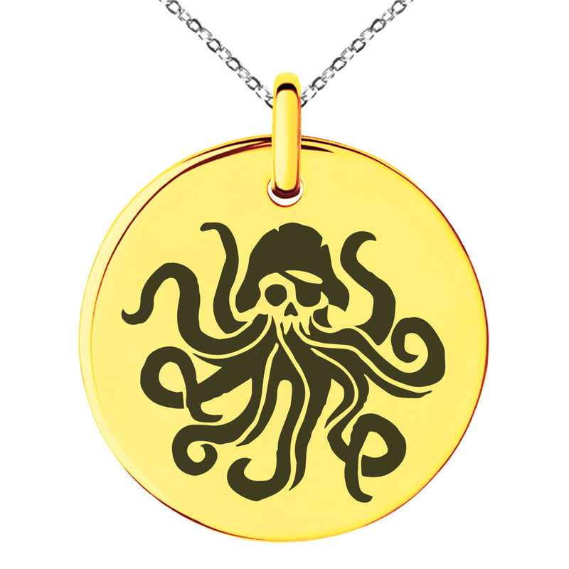 Stainless Steel Kraken Octopus Pirate Skull Engraved Small Medallion Circle Charm Pendant Necklace