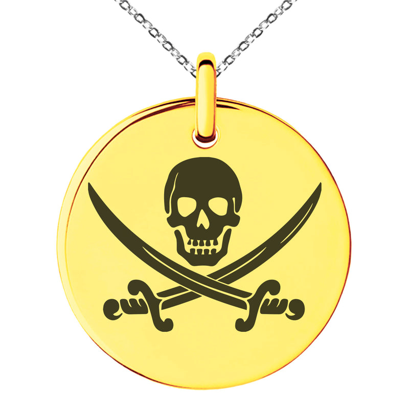 Stainless Steel Pirate Skull & Swords Engraved Small Medallion Circle Charm Pendant Necklace - Tioneer