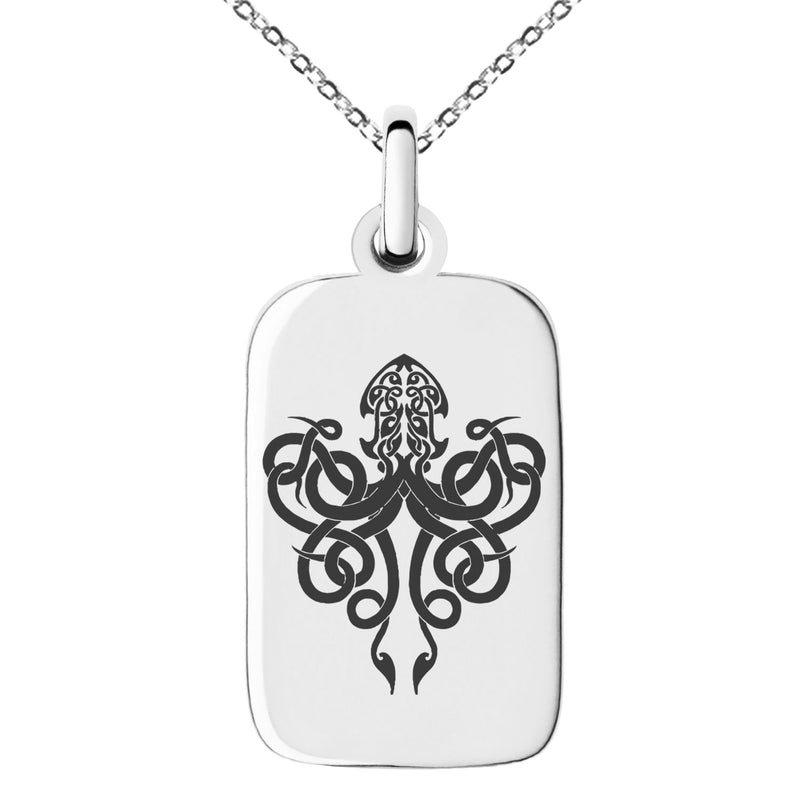 Stainless Steel Tribal Kraken Engraved Small Rectangle Dog Tag Charm Pendant Necklace - Tioneer