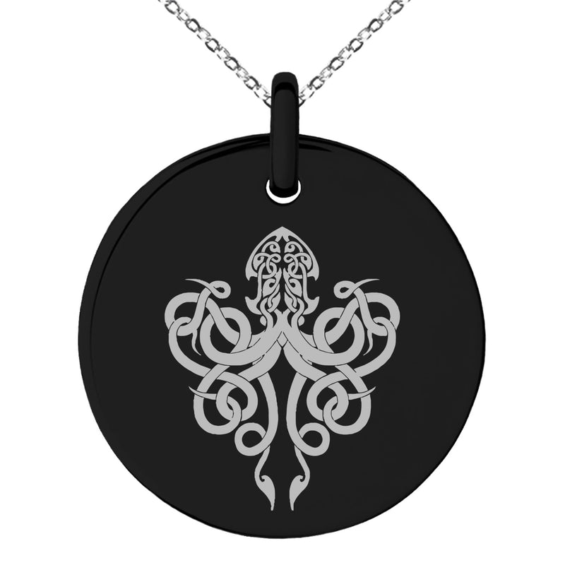 Stainless Steel Tribal Kraken Engraved Small Medallion Circle Charm Pendant Necklace - Tioneer