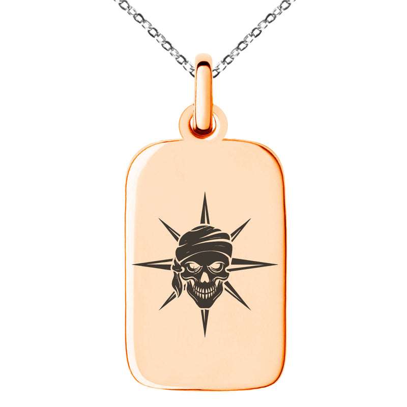 Stainless Steel Pirate Skull Star Compass Engraved Small Rectangle Dog Tag Charm Pendant Necklace - Tioneer