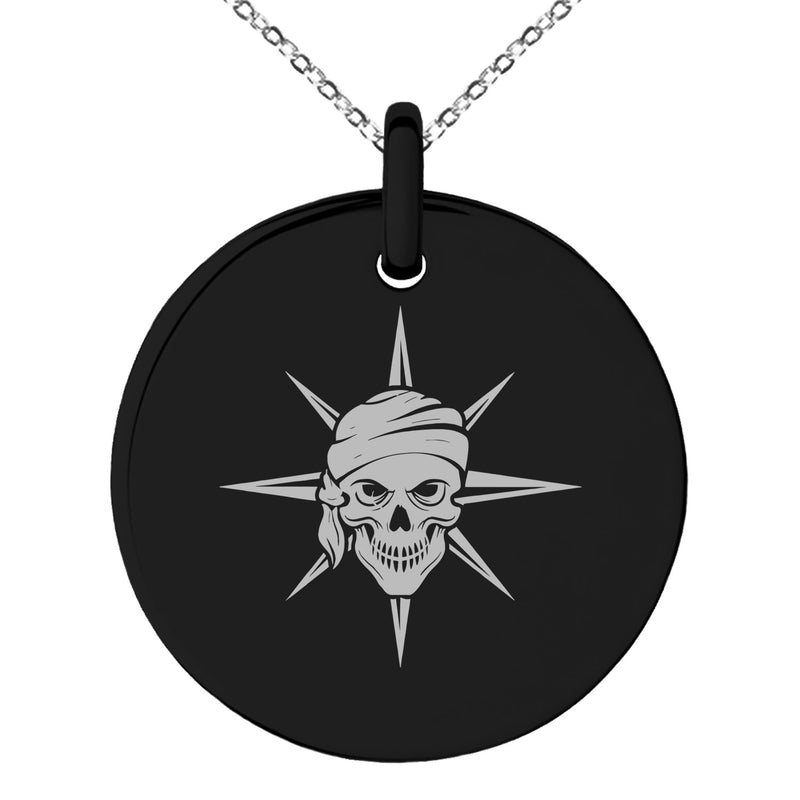 Stainless Steel Pirate Skull Star Compass Engraved Small Medallion Circle Charm Pendant Necklace - Tioneer