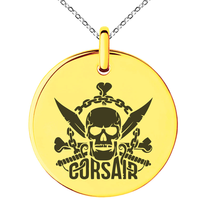 Stainless Steel Corsair Pirate Skull Emblem Engraved Small Medallion Circle Charm Pendant Necklace