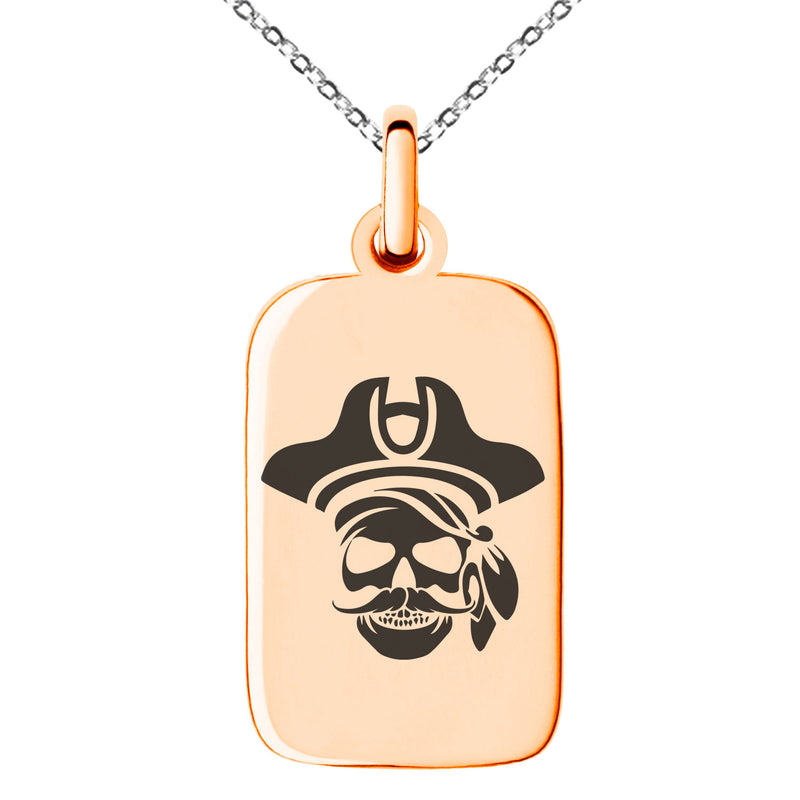 Stainless Steel Sea Dog Pirate Skull Emblem Engraved Small Rectangle Dog Tag Charm Pendant Necklace - Tioneer