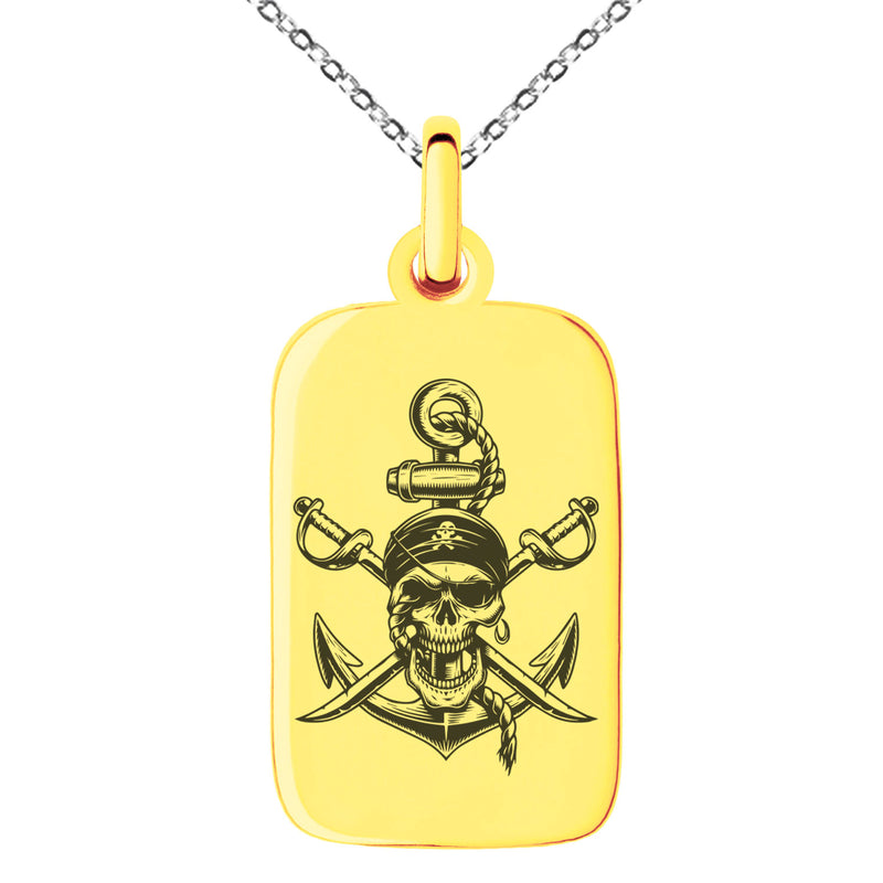 Stainless Steel Pirate Skull Anchor & Cross Swords Engraved Small Rectangle Dog Tag Charm Pendant Necklace - Tioneer