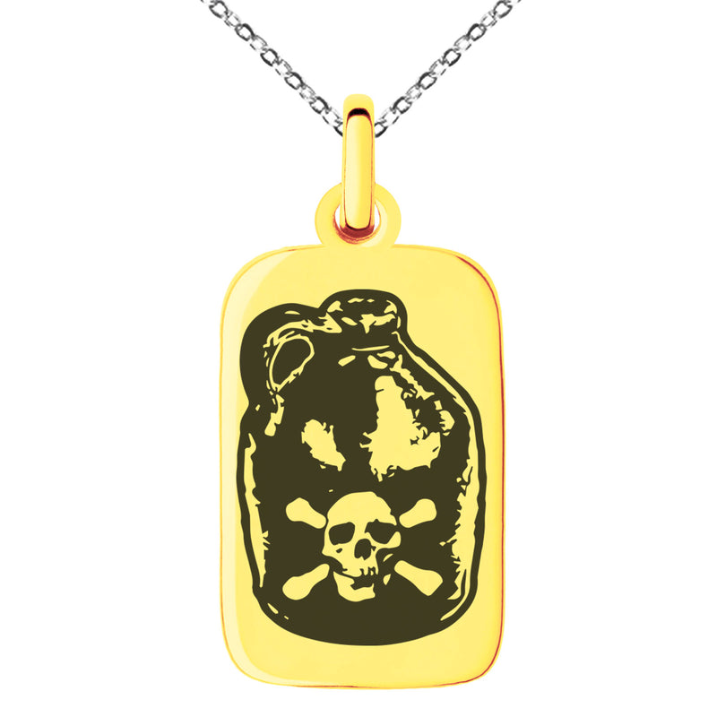 Stainless Steel Pirate Skull Crossbones Rum Engraved Small Rectangle Dog Tag Charm Pendant Necklace - Tioneer