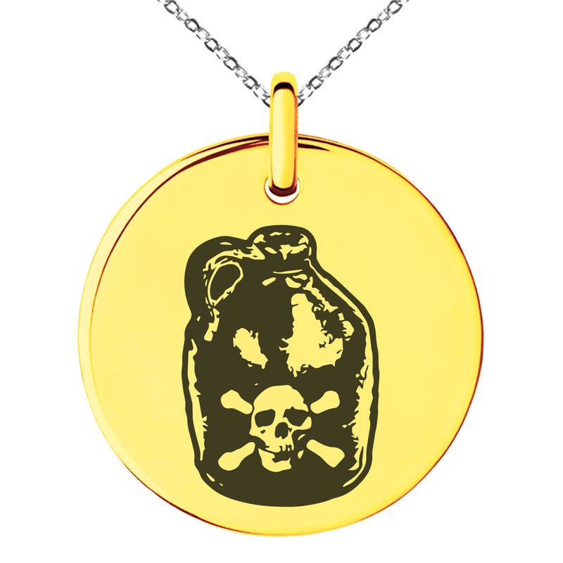 Stainless Steel Pirate Skull Crossbones Rum Engraved Small Medallion Circle Charm Pendant Necklace - Tioneer