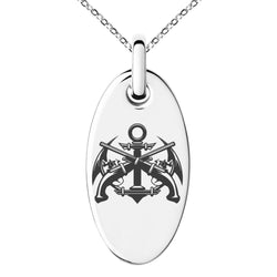 Stainless Steel Pirate Anchor & Pistols Emblem Engraved Small Oval Charm Pendant Necklace - Tioneer