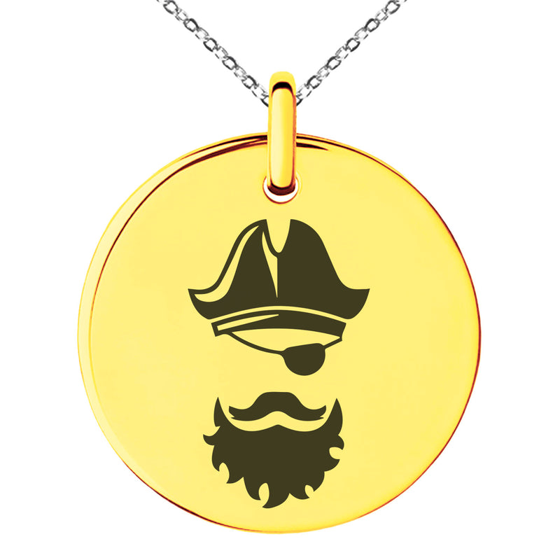 Stainless Steel Legendary Blackbeard Pirate Engraved Small Medallion Circle Charm Pendant Necklace
