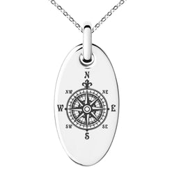 Stainless Steel Nautical Fleur de Lis Compass Engraved Small Oval Charm Pendant Necklace - Tioneer