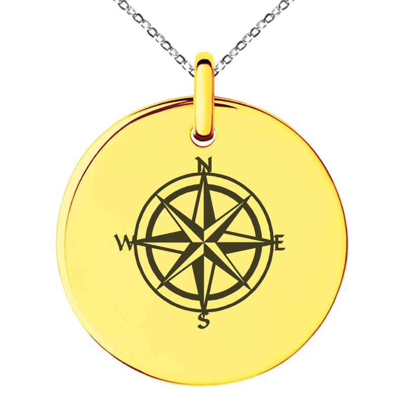 Stainless Steel Nautical Star Compass Engraved Small Medallion Circle Charm Pendant Necklace - Tioneer