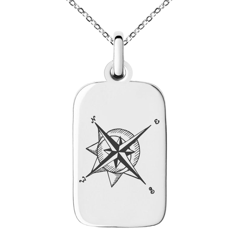 Stainless Steel Nautical Moon & Sun Compass Engraved Small Rectangle Dog Tag Charm Pendant Necklace - Tioneer
