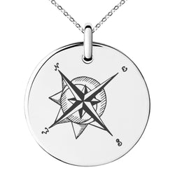 Stainless Steel Nautical Moon & Sun Compass Engraved Small Medallion Circle Charm Pendant Necklace - Tioneer