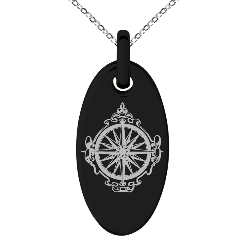 Stainless Steel Nautical Antique Royal Compass Engraved Small Oval Charm Pendant Necklace - Tioneer