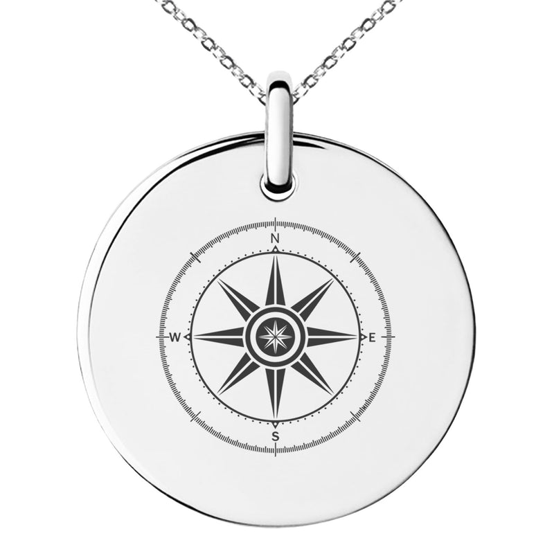 Stainless Steel Nautical Wind Compass Engraved Small Medallion Circle Charm Pendant Necklace - Tioneer